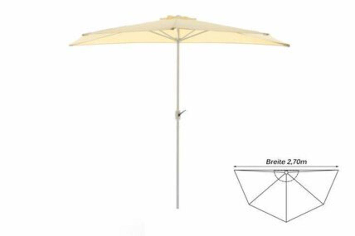 Bild 1 von VCM Balkon-Sonnenschirm beige halbrund Gartenschirm Sonnenschutz 2,7m mit Kurbel