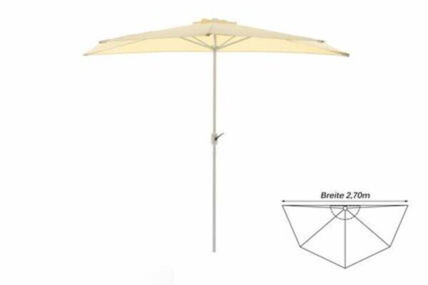 VCM Balkon-Sonnenschirm beige halbrund Gartenschirm Sonnenschutz 2,7m mit Kurbel