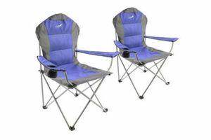 VCM 2er Set Deluxe Campingstuhl blau grau Faltstuhl Angelstuhl gepolstert