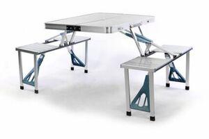 VCM Sitzgruppe Camping Alu Tisch mit 4 Hocker Stuhl Party klappbar
