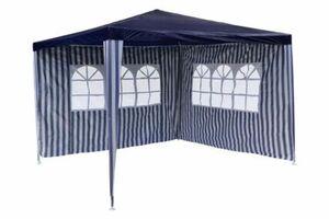 VCM Pavillon 3x3 m in blau weiß PE Plane 2 Seitenteile Partyzelt Gartenzelt Zelt