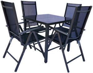 VCM Alu Sitzgruppe 80x80 Schwarzglas Gartenmöbel Gartengarnitur Tisch Stuhl
