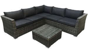 DEGAMO Lounge - Set ALMERIA, Aluminium + Polyrattan grau-bicolor, Polster dunkelgrau