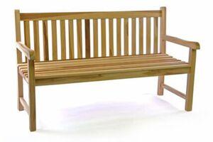 VCM 3-Sitzer Gartenbank Parkbank hochwertig massiv Teak Holz natur 150 cm