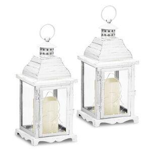 Gartenfreude Laterne Metall Laterne 2er-Set mit LED Kerze, ohne Ausschnitt, Weiß ohne