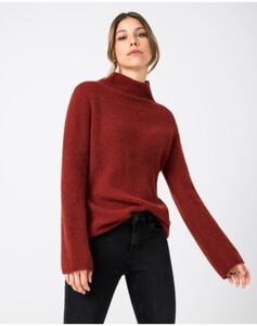 Hallhuber Pullover mit hohem Stehkragen für Damen in rost