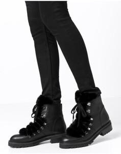 Hallhuber Leder-Boots mit Fake-Fur für Damen in schwarz