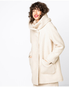 Hallhuber Mantel aus Curly-Fake-Fur mit Volumenkragen für Damen in creme