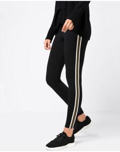 Hallhuber Jersey-Leggings mit seitlichen Streifen für Damen in schwarz