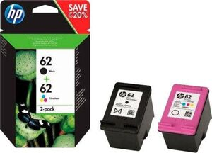 HP »62, original, N9J71AE, farbig schwarz, mehrfarbig 2 St./Pack.« Tintenpatrone