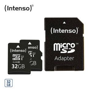 microSDHC-Karte · mit beiliegendem Adapter verwendbar als SD-Karte · Class 10/UHS-I · bis zu 45 MB/s