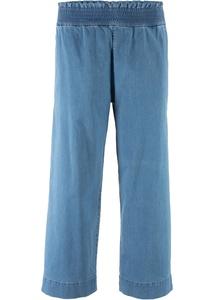 Stretch-Jeans mit Gummizug und weitem Bein