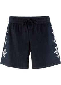 Stretch-Jeans-Short mit Stickerei