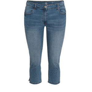 3/4 Damen Slim-Jeans mit Glitzersteinchen