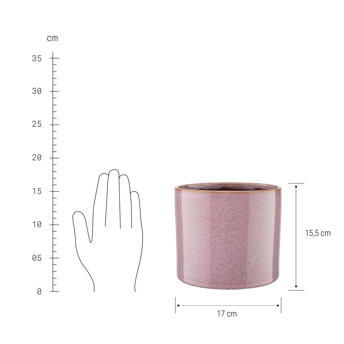 Bild 2 von Blumentopf glasiert Ø17cm rosé