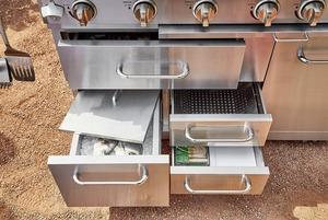 METRO Professional Profi-BBQ-Küche Edelstahlgasgrill mit Tablett und Schubladen