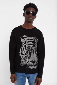 Gerippter Pulli mit Tiger-Print