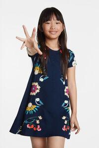 Fließend fallendes T-Shirt-Kleid mit Blumen