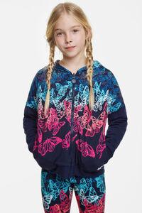 Blauer Wende-Sweater mit Schmetterlingen