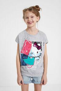 T-Shirt mit Hello Kitty-Patch aus Wendepailletten