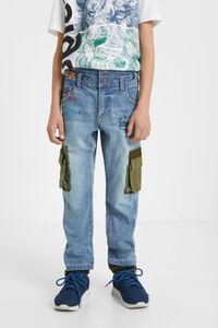 Hybrid-Jeans mit Cargo-Taschen