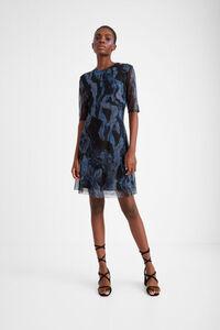 Marmoriertes Kleid mit 3-D-Effekt