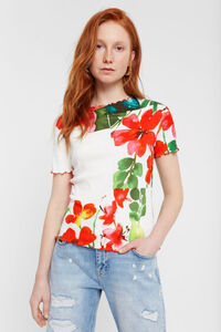 Blumiges Slim-Shirt