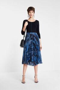 Plissee-Kleid mit Rundhalsausschnitt