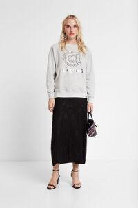 Oversize-Sweater mit Ösen und Mandala