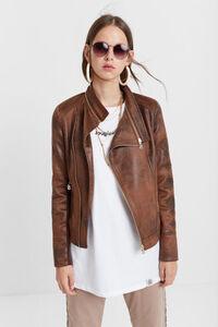 Biker-Jacke mit ausfaltbarem Kragen