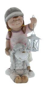 Deko-Mädchen mit Laterne und Schaf