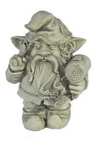 Casa Collection - Zwerg mit Hammer in der linken Hand, steinoptik hell