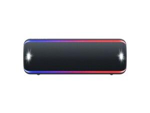Sony Mobiler Lautsprecher SRS-XB32 schwarz (Bluetooth, kabellos, NFC, farbige Lichtleiste, Extra Bass, Powerbank-Funktion, wasserabweisend)
