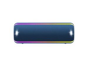 Sony Mobiler Lautsprecher SRS-XB32 blau (Bluetooth, kabellos, NFC, farbige Lichtleiste, Extra Bass, Powerbank Funktion, wasserabweisend)
