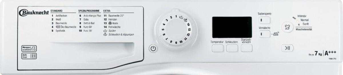 Bild 2 von BAUKNECHT FWM 7F4 Waschmaschine (7 kg, 1400 U/min., A+++, Wolle, Anti-Allergie)
