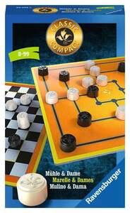 Ravensburger Classic Compact: Mühle & Dame Taktikspiele