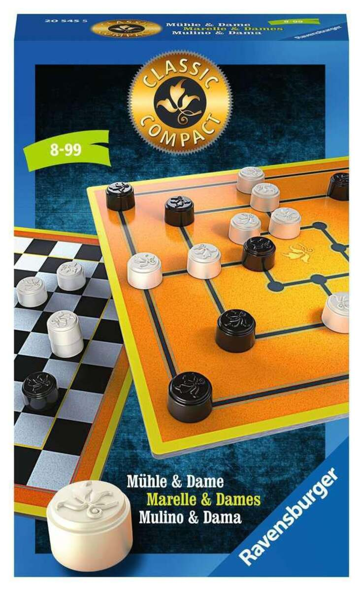Bild 1 von Ravensburger Classic Compact: Mühle & Dame Taktikspiele