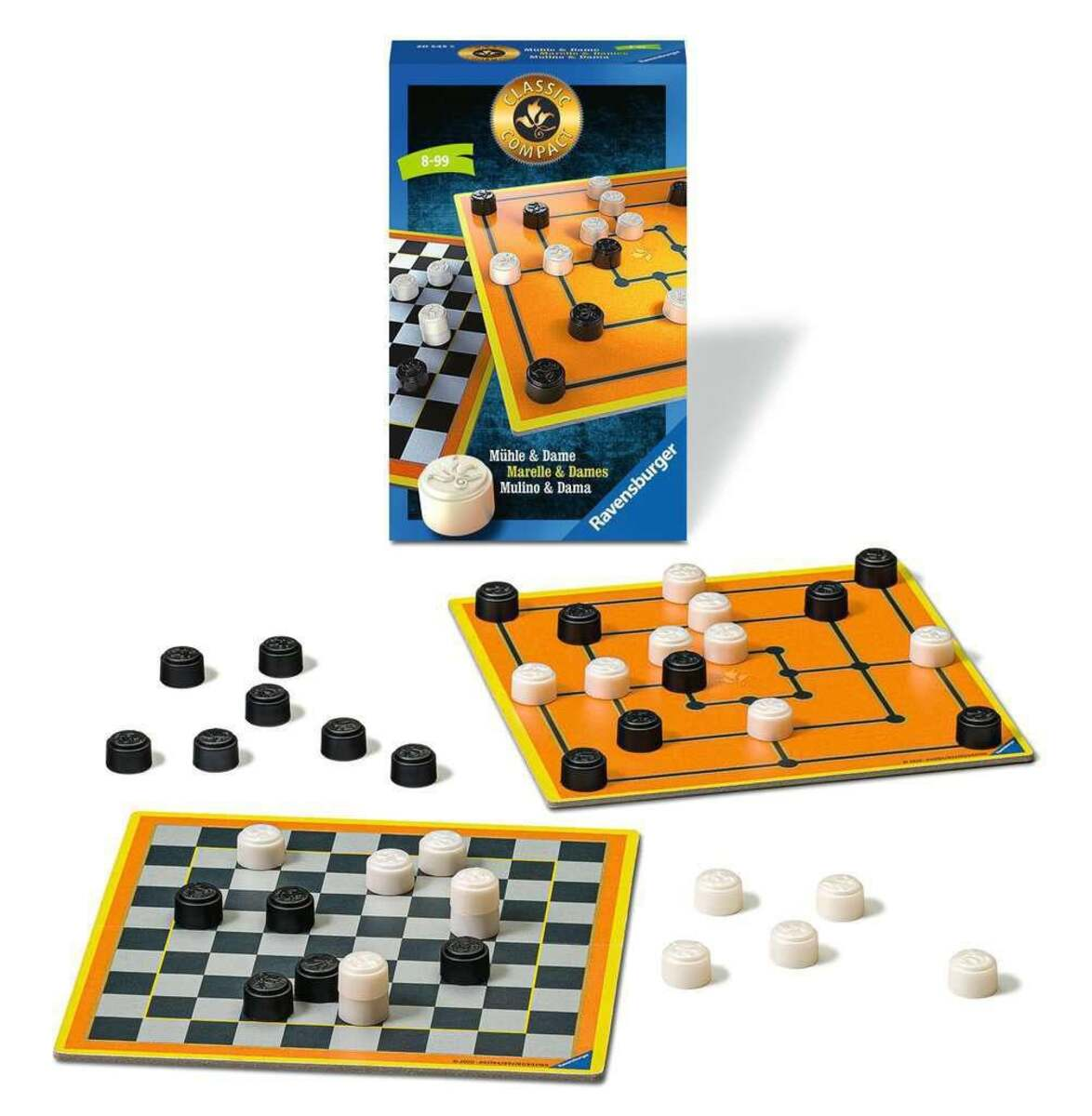 Bild 2 von Ravensburger Classic Compact: Mühle & Dame Taktikspiele