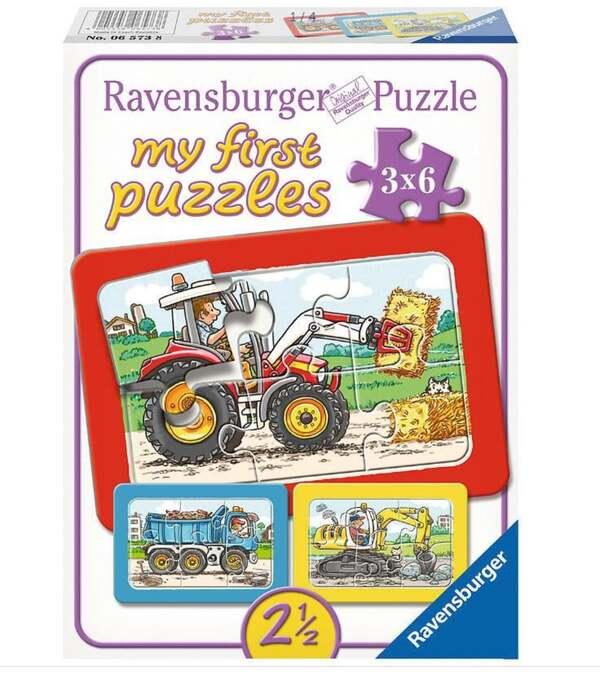 Ravensburger 3er Set Puzzle mit Rahmen, Bagger, Traktor und Kipplader