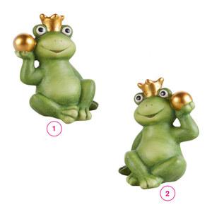 Frosch mit Krone und Kugel L Terrakotta 15,5 x 12 x 20,5 cm in verschiedenen Varianten