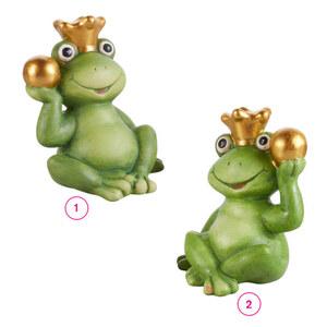 Frosch mit Krone und Kugel M Terrakotta 12 x 10,5 x 14,5 cm