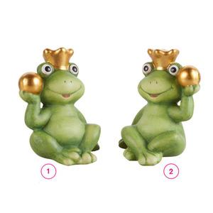 Frosch mit Krone und Kugel S Terrakotta 9 x 7,5 x 12,3 cm