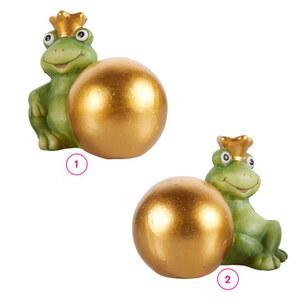 Frosch mit Krone und großer Goldkugel  16 x 11 x 12 cm in verschiedenen Varianten