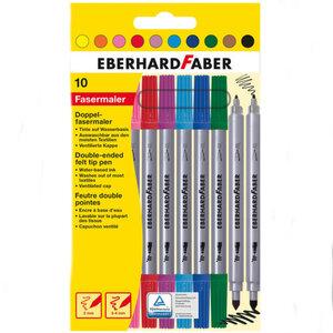 Eberhard Faber Doppelfasermaler 10er Etui 2 mm + 3-4 mm