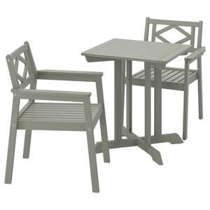 BONDHOLMEN                                Tisch und 2 Armlehnstühle/außen, grau las.