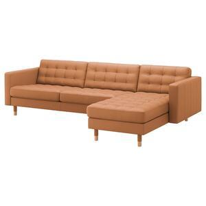 LANDSKRONA                                4er-Sofa, mit Récamiere, Grann/Bomstad goldbraun/Holz