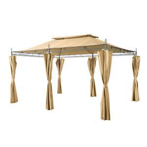Grasekamp Garten-Pavillon Inca 3x4m Beige mit Seitenteil