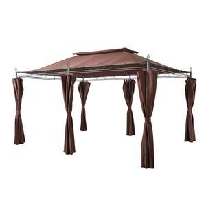Grasekamp Garten-Pavillon Inca 3x4m Mocca mit Seitenteil