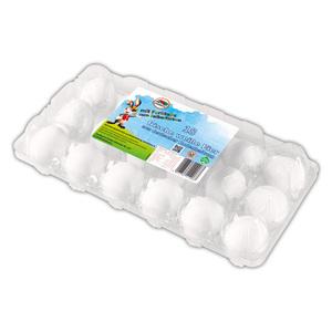 18 frische, weiße Eier mit Eier-Farben