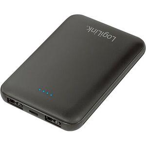 LogiLink® Reise-Sortiment, verschiedene Ausführungen - Powerbank 5.000mAh, Lithium-Polymer, 2x USB, schwarz